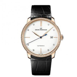 FK Girard Perregaux 1966 Series 49525 Men's Mechanical Watch Rose Gold White Plate Diamond Edition