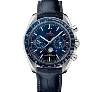 JH factory replica Omega Speedmaster series 304.33.44.52.03.001 chronograph blue face model.