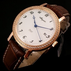 Breguet Breguet men's watch 18K rose gold case with diamonds automatic mechanical transparent leather strap men's watch digital