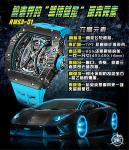 "JB Richard Mille RM53-01 Tourbillon Watch Full body carbon brazed dimension + true tourbillon heart Known as the ""Lamborghini sixth element"" in the watch industry"